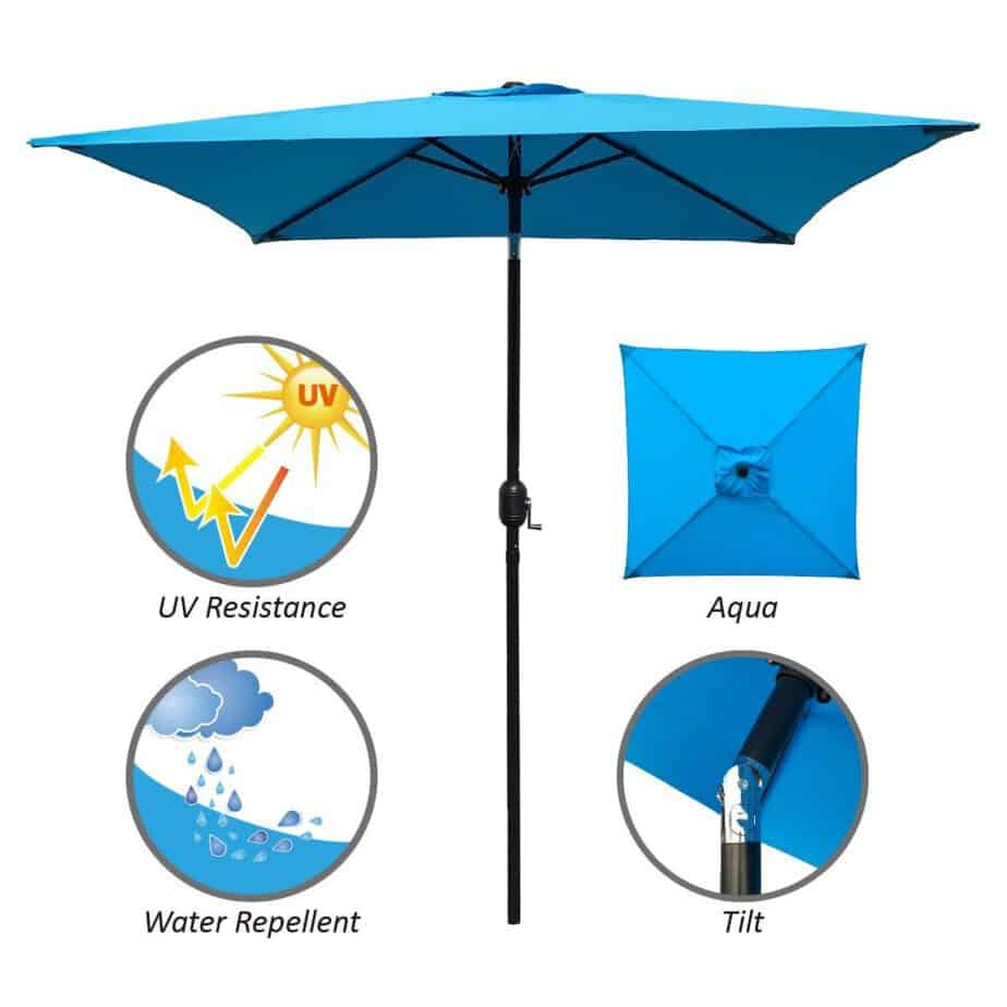 ABBLE Outdoor Patio Umbrella 6.5 Ft Square with Tilt and Crank, Weather Resistant best square patio umbrella