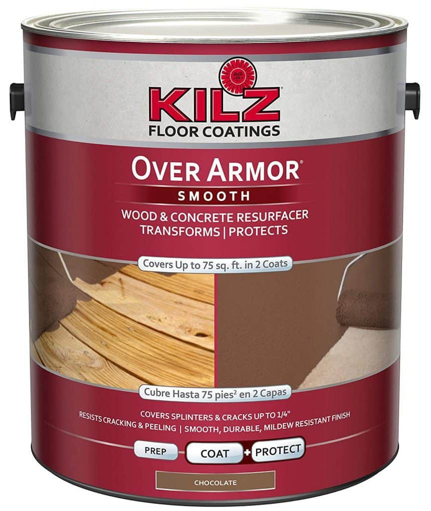 KILZ Over Armor Smooth Wood/Concrete Coating, 1 gallon, Chocolate Brown best patio paint garage reviews