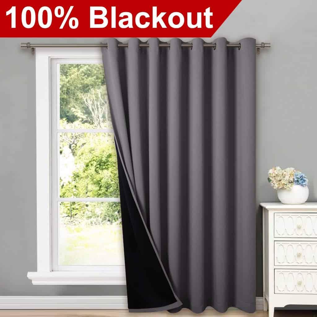 NICETOWN Total Shade Patio Door Curtain, Heavy-Duty Full Light Shading Sliding Door patio door