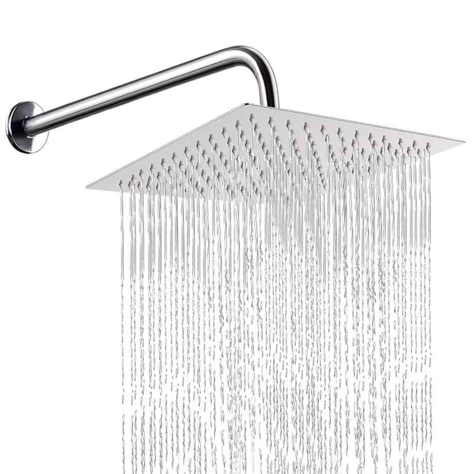 12 Inch Shower Head With 15 Inch Extension Arm, NearMoon Square Rain Shower Heads, High Pressure Large Stainless Steel Rainfall ShowerHead best shower heads for outdoor shower