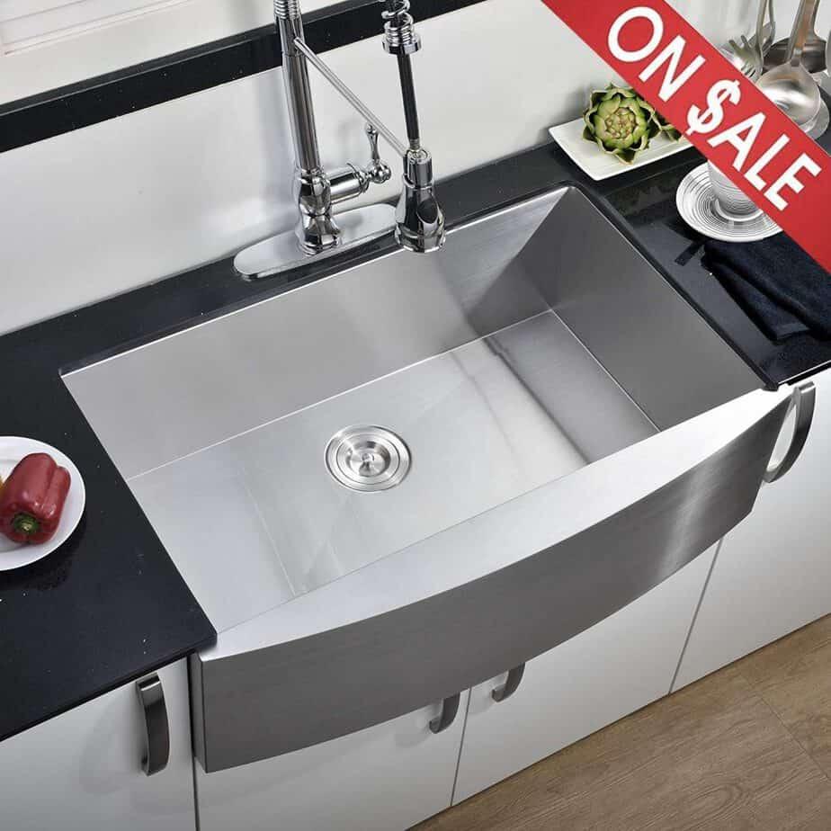 Comllen 33 Inch 304 Stainless Steel Farmhouse Kitchen Sink, Single Bowl 16 Gauge 10 Inch Deep Handmade Undermount Apron best kitchen sink for hard water reviews