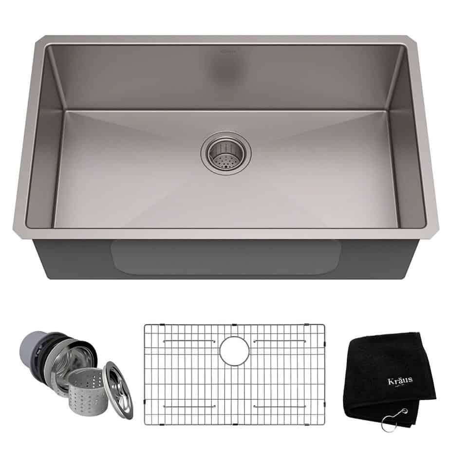 Kraus Standart PRO 32-inch 16 Gauge Undermount Single Bowl Stainless Steel Kitchen Sink, KHU100-32 best kitchen sink for hard water