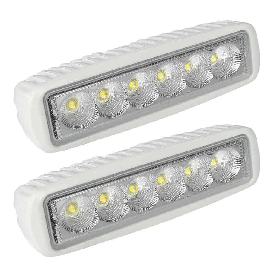 LEANINGTECH White Spreader LED Deck/Marine Lights (Set of 2) for Boat (Flood Light) 12V 18W best flood lights for boat