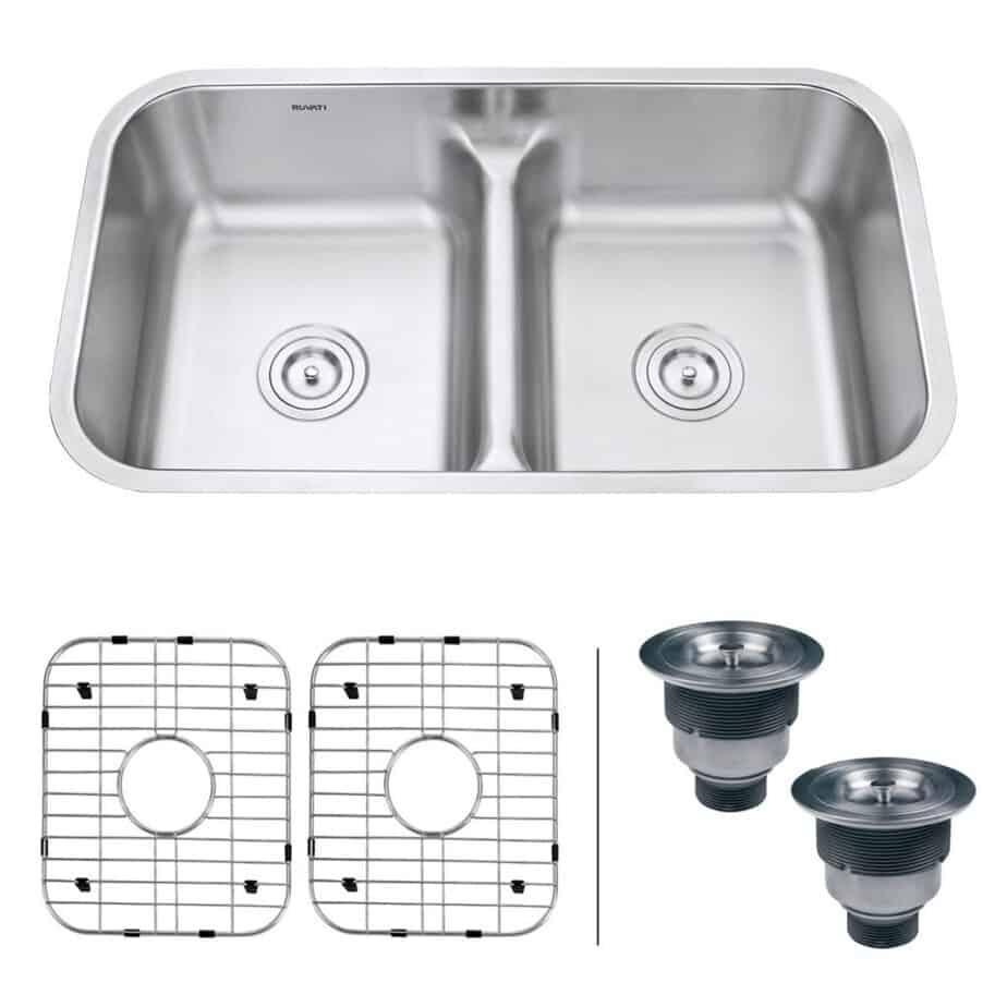 Ruvati 32-inch Low-Divide 50/50 Double Bowl Undermount 16 Gauge Stainless Steel Kitchen Sink - RVM4350 best kitchen sink for hard water