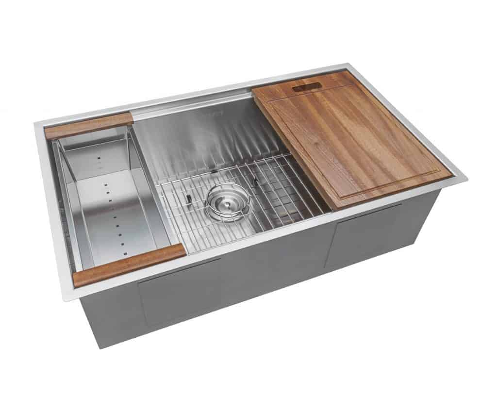 Ruvati 32-inch Workstation Ledge Undermount 16 Gauge Stainless Steel Kitchen Sink Single Bowl best kitchen sink for hard water review