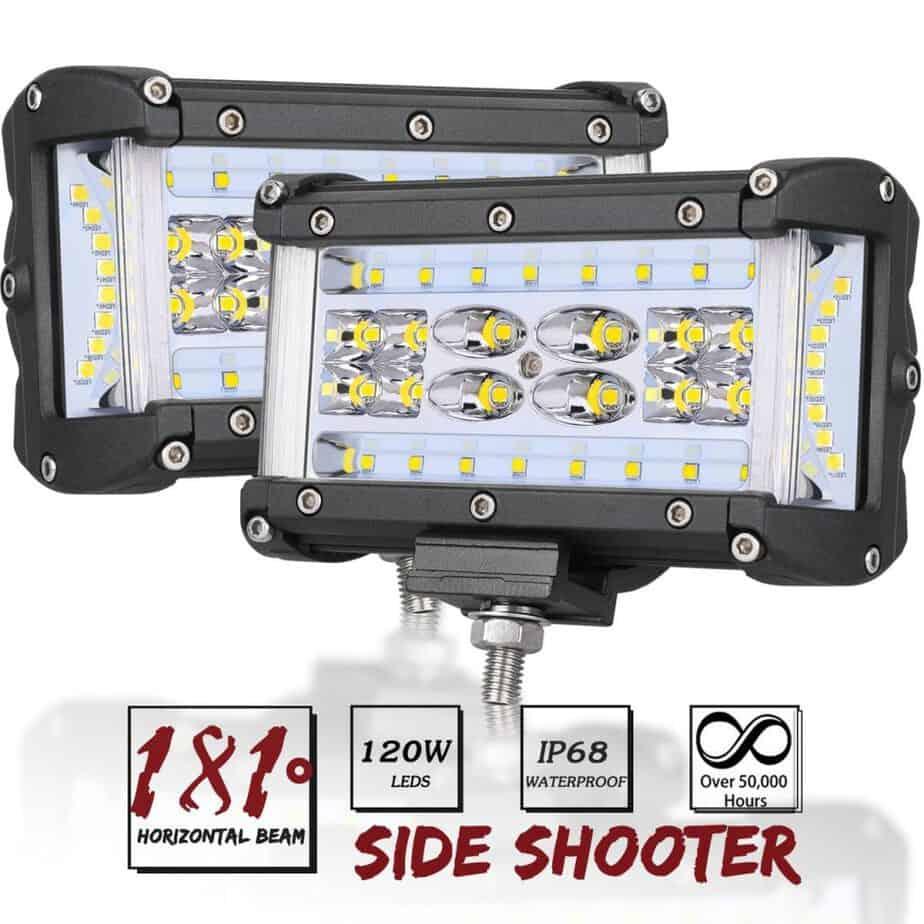 Side Shooter LED Lights, AutoPowerPlus 2pcs 5 inch 120W LED Pods Off Road Driving Fog Light Waterproof LED Cubes Spot Flood Combo Work Lights best flood lights for boat