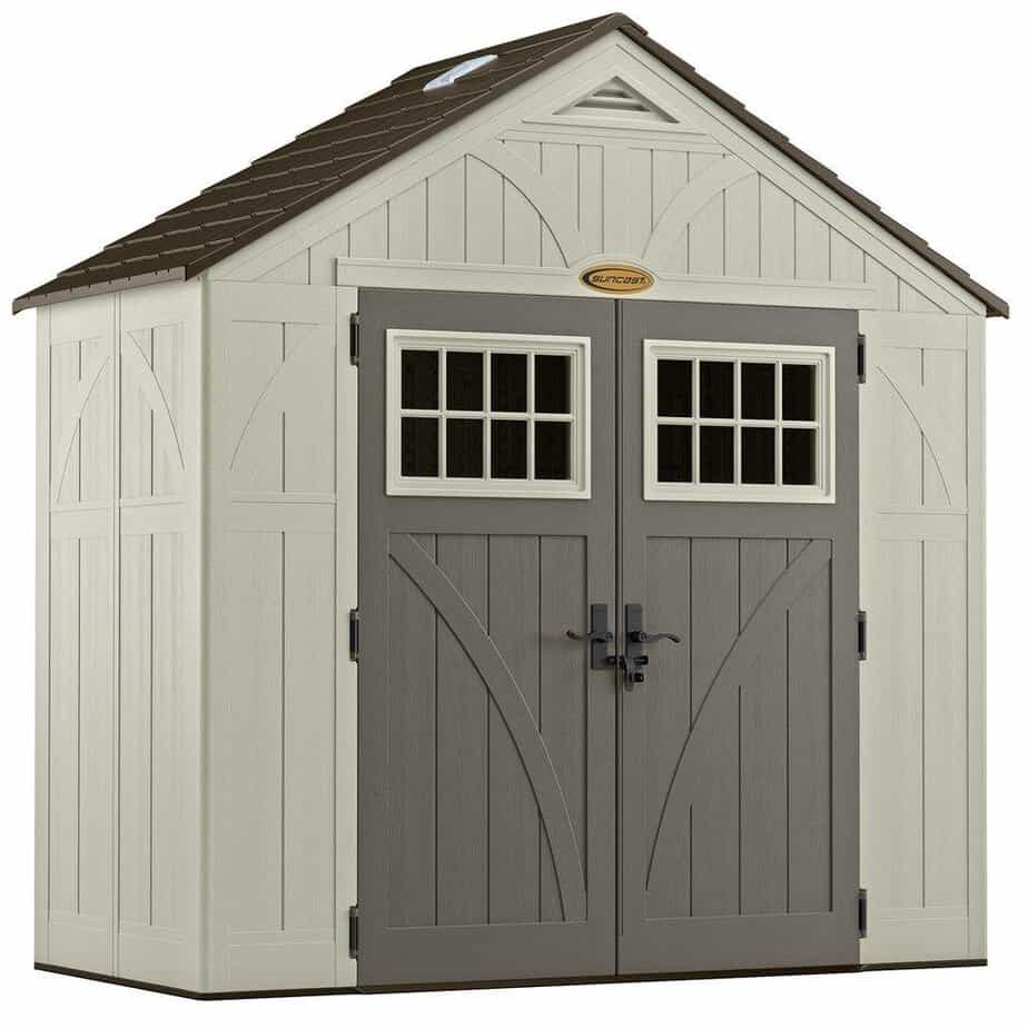 Suncast 4' x 8' Tremont Storage Shed with Windows - Outdoor Storage for Backyard Tools and Accessories best storage sheds for backyard