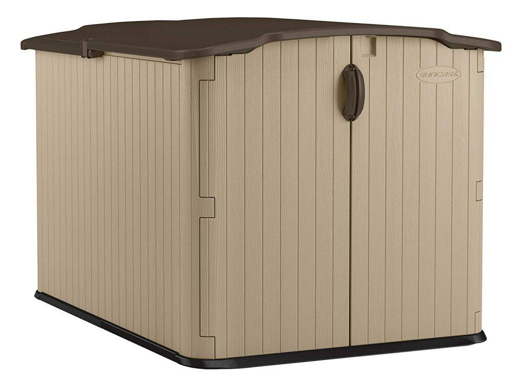 Suncast Glidetop Slide Lid Shed - Outdoor Storage Shed with Walk -In Access for Backyards - Lockable Storage for Bikes, Mowers, and Patio Furniture best storage sheds for backyard
