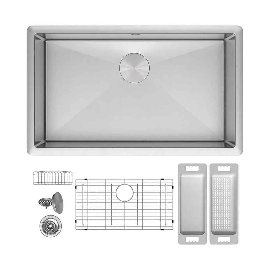 ZUHNE Modena 32 Inch Single Bowl Under Mount 16 Gauge Stainless Steel Kitchen Sink with Grate Protector, Caddy, Colander and Strainer, Fits 36 Cabinet best kitchen sink for hard water