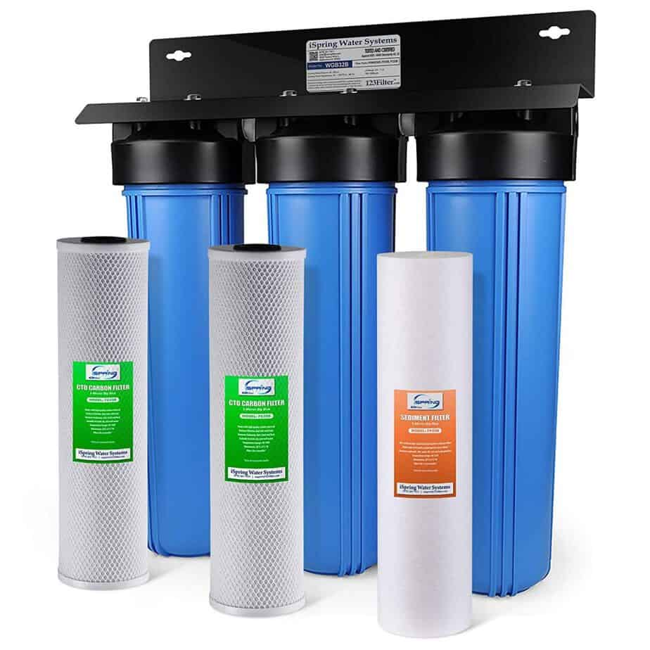 iSpring WGB32B 3-Stage Whole House Water Filtration System w/ 20-Inch Big Blue Sediment best whole house water filter for hard water