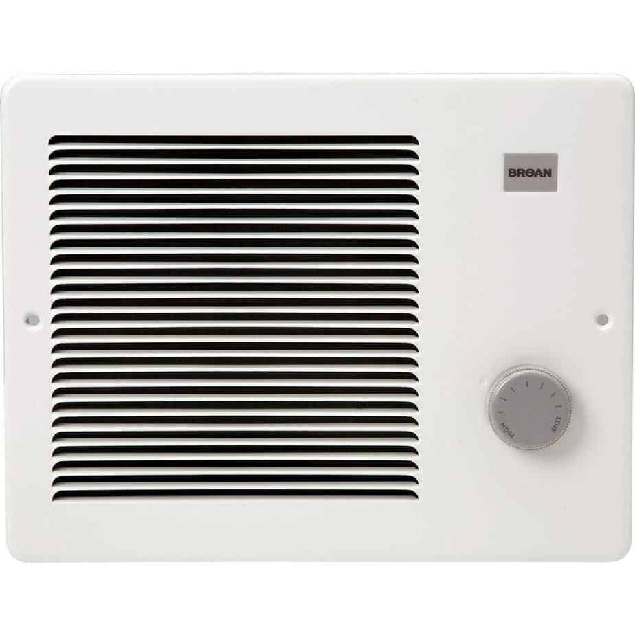 Broan Wall Heater, White Grille Heater with Built-In Adjustable Thermostat, 750 1500W, 120 240V AC best electric wall heater for bedroom review