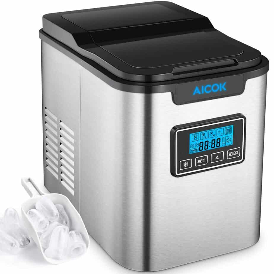 Aicok 26lb Portable Ice Maker Machine for Countertop, Stainless Steel, Ice Cubes 6 Minutes, 26lb Ice 24 Hrs, Self-clean Function, LCD Display, Ice Scoop Basket best ice maker for home bar