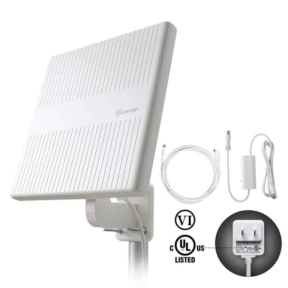 ANTOP Outdoor TV Antenna, 360° Omnidirectional HDTV Antenna, Built-in 4G LTE Filter& Smartpass Amplifier, 4K 1080P VHF UHF TV Channels, for Indoor,Outdoor,RV,Attic Use best attic antenna for multiple tvs