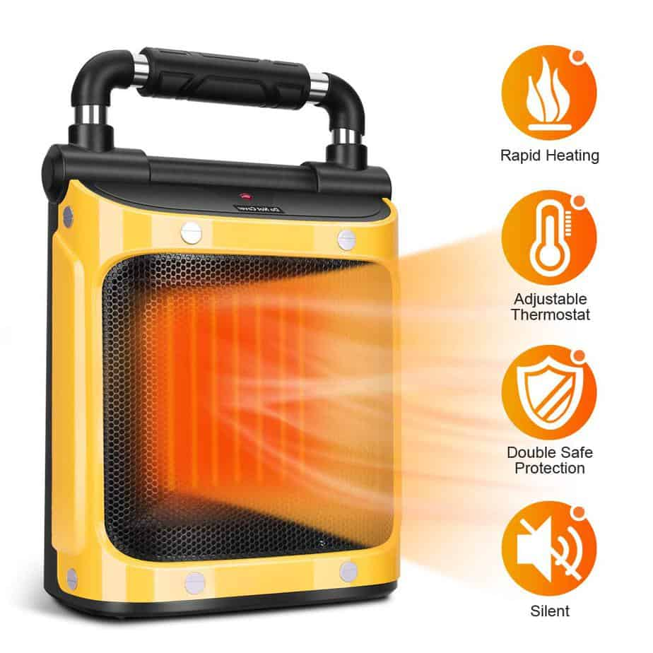 Electric Space Heater - Portable Heater 1500W with Adjustable Thermostat, Fan Ceramic Heater, Tip-Over & Overheat Protection best electric garage heaters 120v