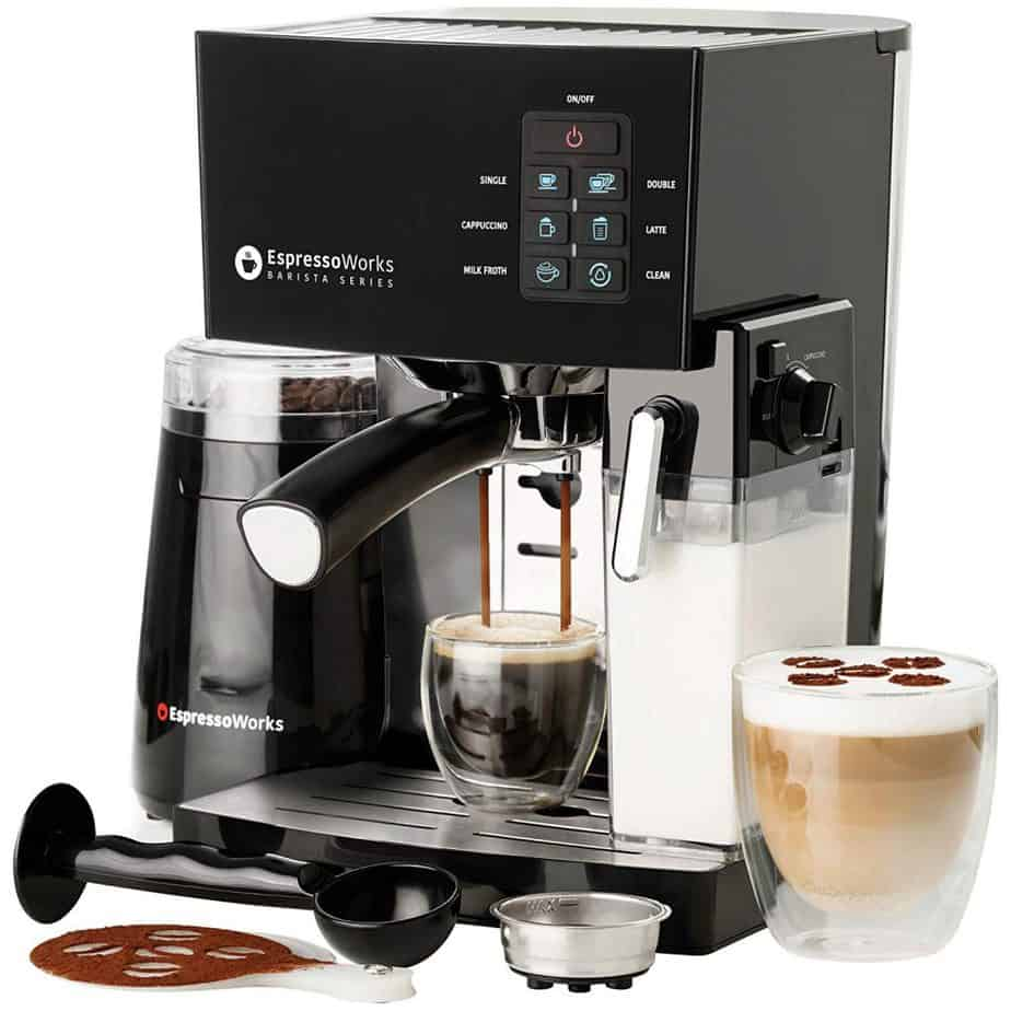 EspressoWorks 10 Pc All-In-One Barista Bundle Espresso Machine & Cappuccino Maker, 19 BAR Pump Set best home espresso machine for latte art