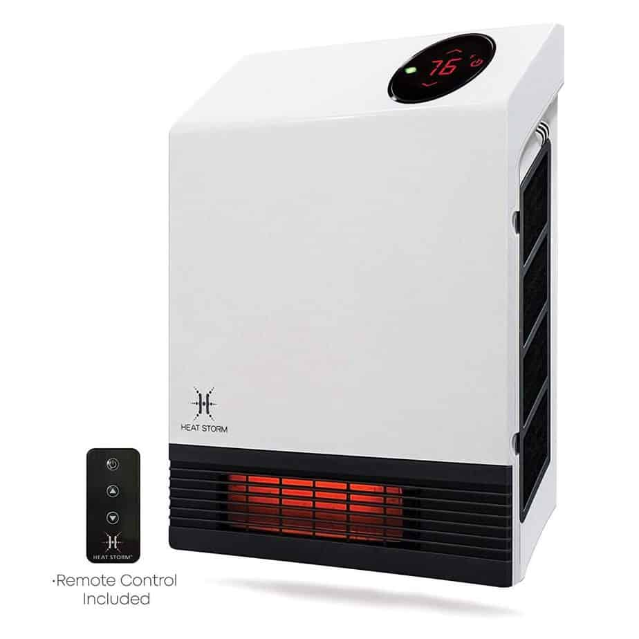 Heat Storm Deluxe Mounted Space Infrared Wall Heater, White review best electric garage heaters 120v