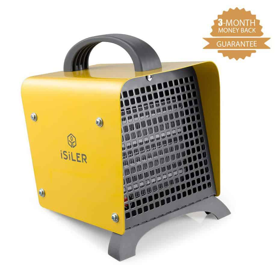 Space Heater, iSiLER 1500W Portable Indoor Heater, Ceramic Space Heater with Adjustable Thermostat & Overheat Protection, Hot Cool Fan Electric Heater best electric garage heaters 120v