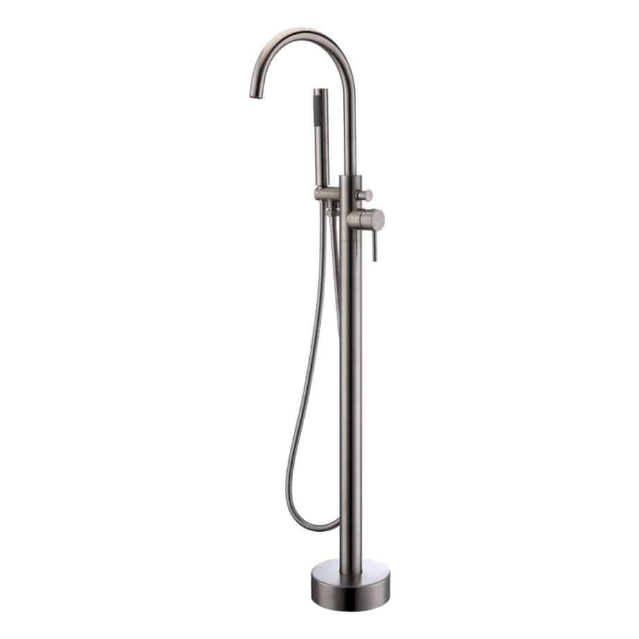 Artiqua Freestanding Tub Filler Bathtub Faucet Brushed Nickel Floor Mount Single Handle Brass Faucets with Hand Shower review