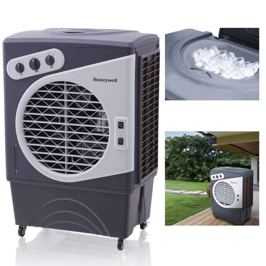 Honeywell 1540-2471 CFM Outdoor Portable Evaporative Cooler with Triple-Sided Honeycomb Cooling Pad best portable air conditioner for garage