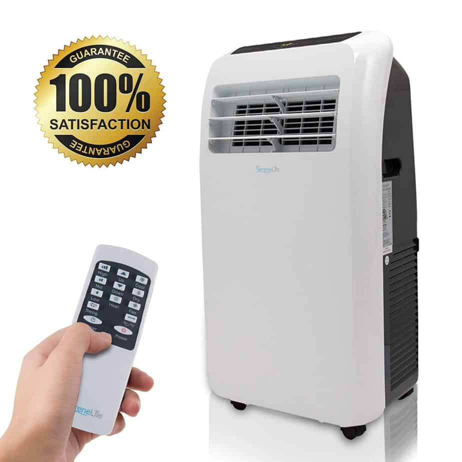 SereneLife 10,000 BTU Portable Air Conditioner + 9,000 BTU Heater, 4-in-1 AC Unit with Built-in Dehumidifier best portable air conditioner for garage