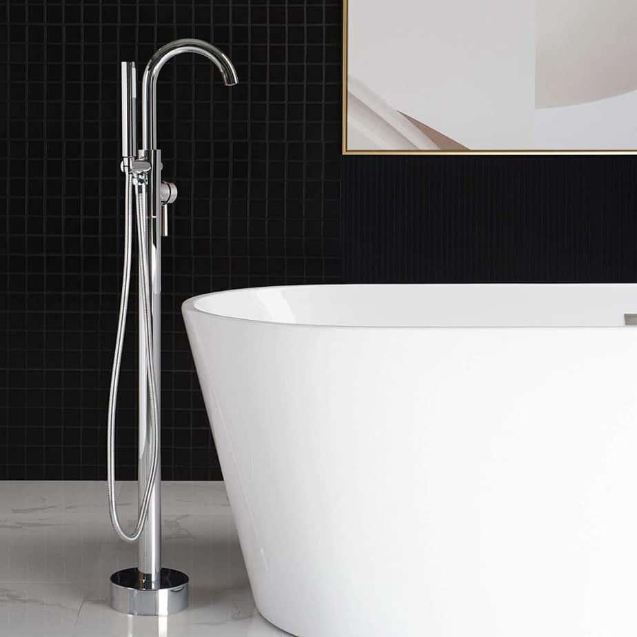 WOODBRIDGE F-0002 Chrome Freestanding Tub Filler Bathtub Floor Mount Brass Bathroom Faucets with Hand Shower best freestanding tub filler