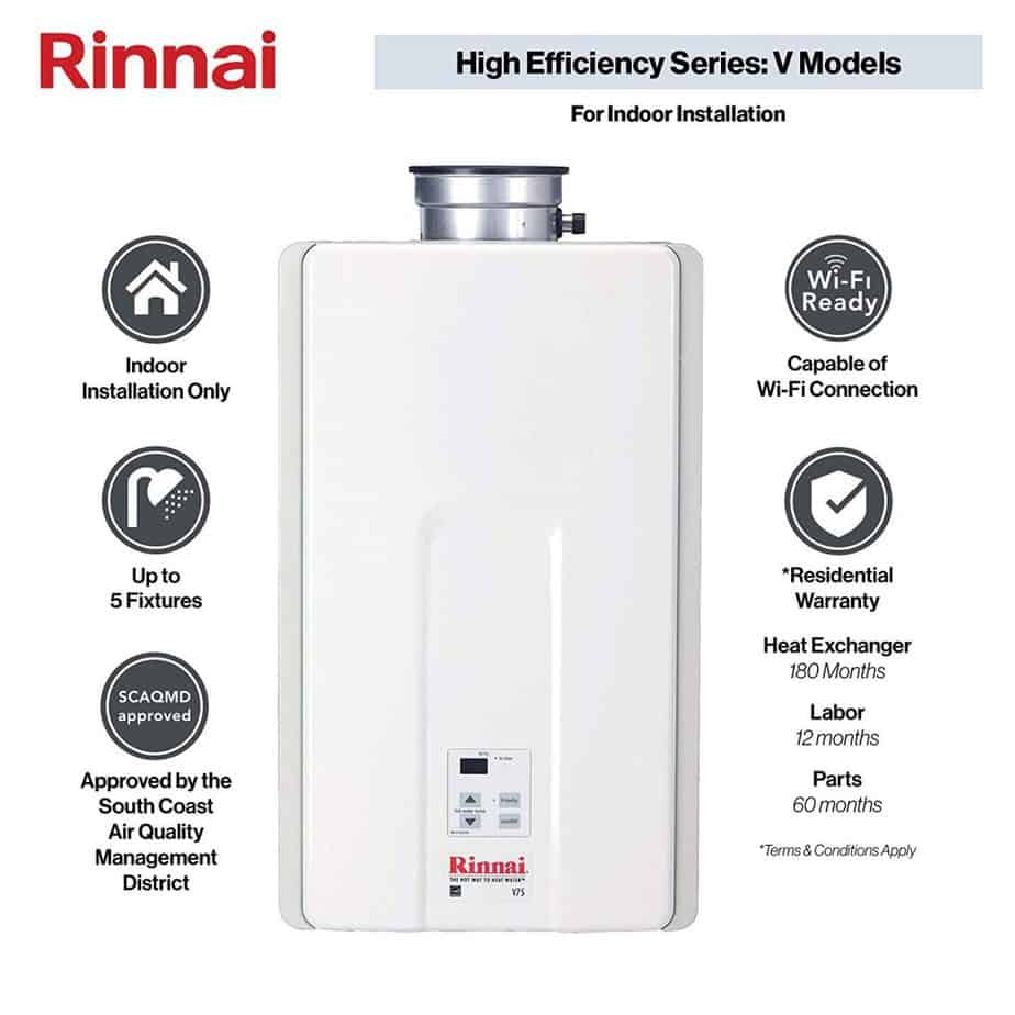Rinnai V Series HE Tankless Hot Water Heater Indoor Installation review