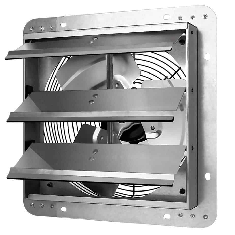 iPower 12 Inch Shutter Exhaust Fan Aluminum,High Speed 1620RPM, 1600 CFM, 1-Pack, Silver best ventilation fan for basement