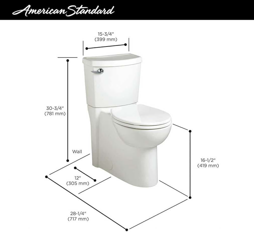 american standard cadet 3 toilet dimensions size