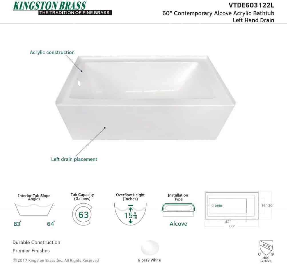 kINGSTON BRASS VTDE603122L 60-Inch Contemporary Alcove Acrylic Bathtub test installation