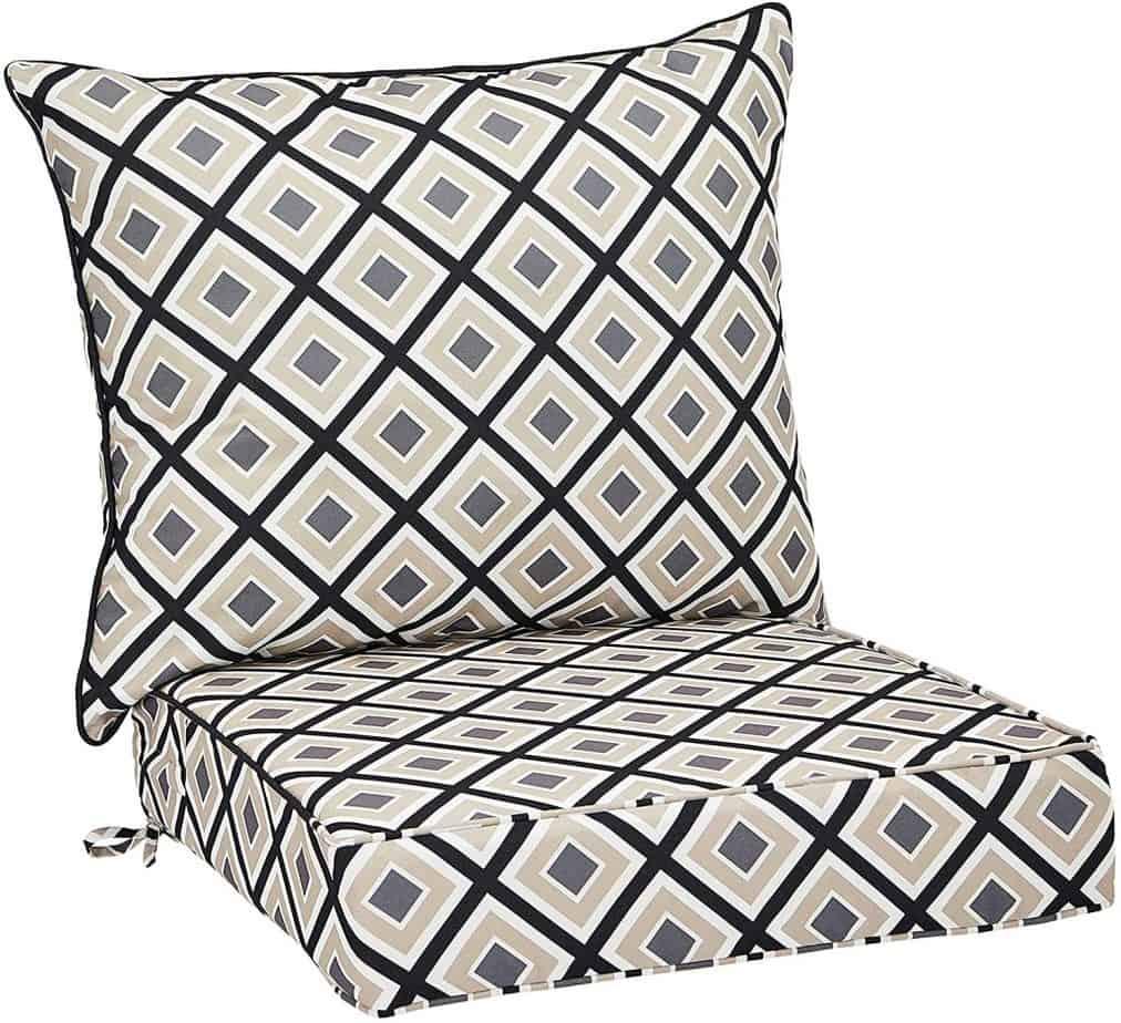 AmazonBasics Deep Seat Patio Seat and Back Cushion- Black Geo best patio cushions