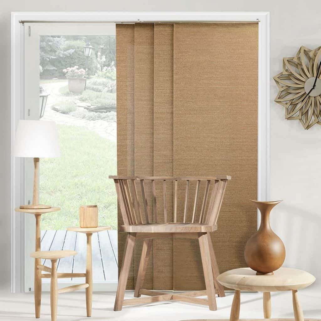 Chicology Adjustable Sliding Panels, Cut to Length Vertical Blinds, Birch Truffle (Natural Woven) best patio door blinds