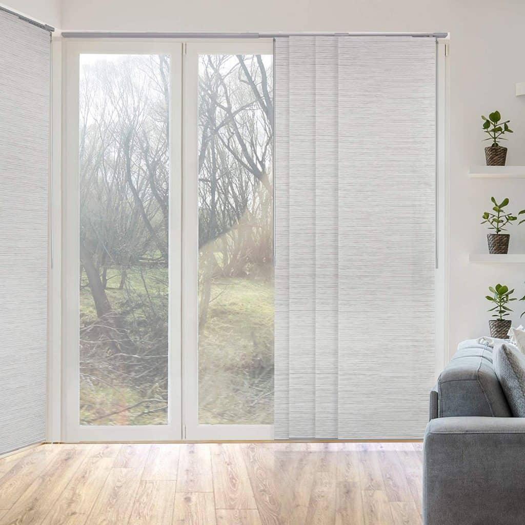 GoDear Design Deluxe Adjustable Sliding Panel 51.5-86 x 96, 4-Rail, Natural Woven best patio door blinds