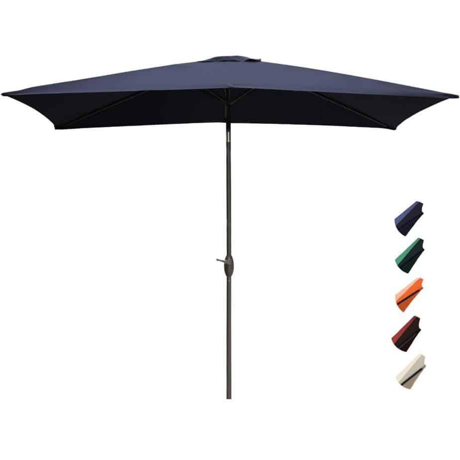 RUBEDER Rectangular Patio Umbrella - 6.6 by 10 Ft Outdoor Market Table Umbrellas with Push Button Tilt and Crank Lift best square patio umbrella