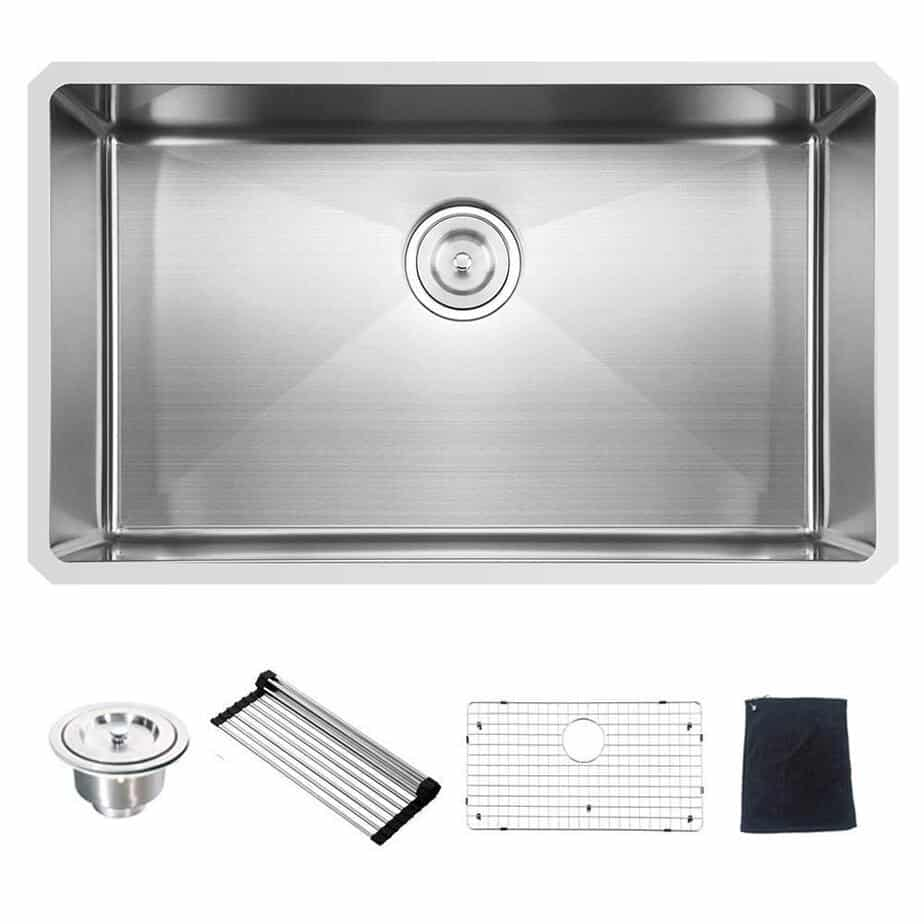 Commercial 32 Inch 16 Gauge 10 Inch Deep Undermount Single Bowl Stainless Steel Kitchen Sink best kitchen sink for hard water