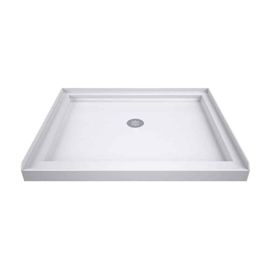 DreamLine SlimLine 32 in. D x 32 in. W x 2 3 4 in. H Center Drain Single Threshold Shower Base in White best shower base for tile