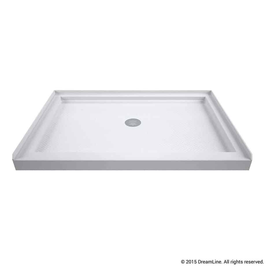 DreamLine SlimLine 36 in. D x 48 in. W x 2 3 4 in. H Center Drain Single Threshold Shower Base in White best shower base for tile