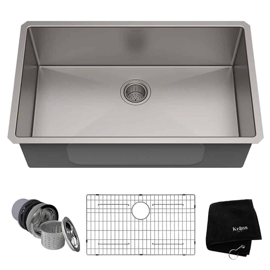 Kraus Standart PRO 32-inch 16 Gauge Undermount Single Bowl Stainless Steel Kitchen Sink, KHU100-32 best kitchen sink for hard water