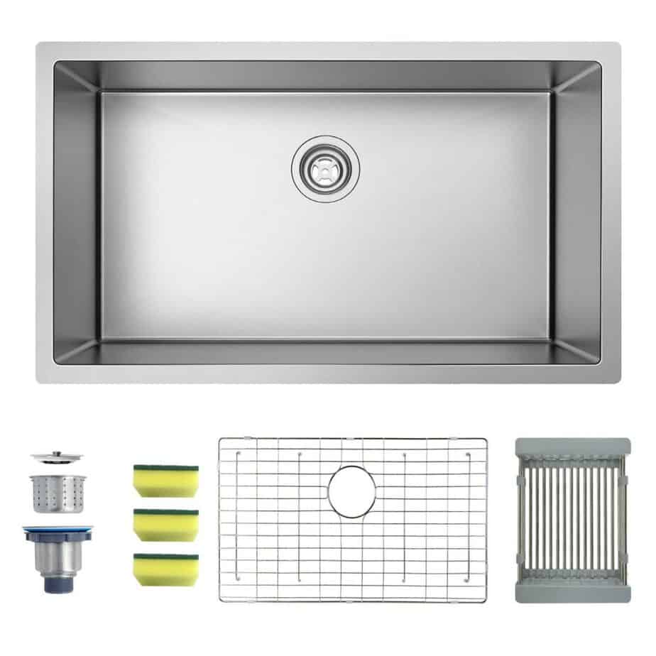 MENSARJOR 32'' x 19'' Single Bowl Kitchen Sink 16 Gauge Undermount Stainless Steel Kitchen Sink, Bar or Prep Kitchen sink best kitchen sink for hard water