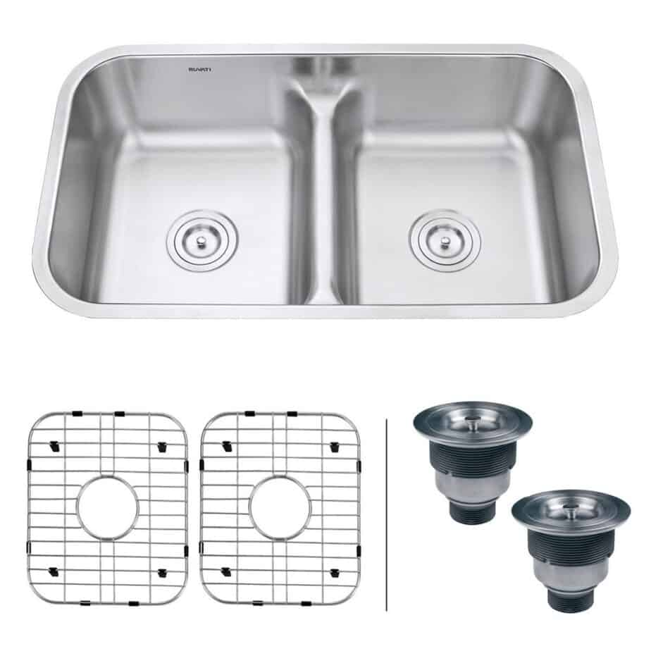 Ruvati 32-inch Low-Divide 50/50 Double Bowl Undermount 16 Gauge Stainless Steel Kitchen Sink - RVM4350 best kitchen sink for hard water
