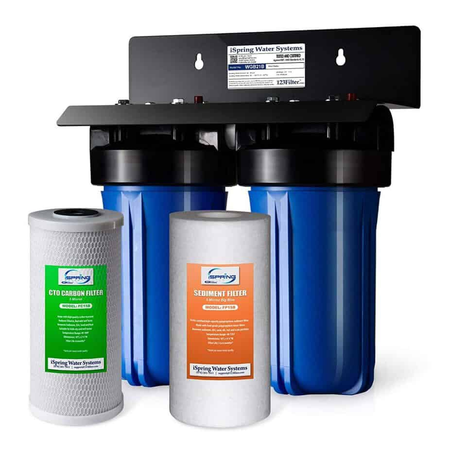iSpring WGB21B 2-Stage Whole House Water, 4.5 X10 Big Blue, 1 Ports, 1-Set Filter Cartridge Included best whole house water filter for hard water