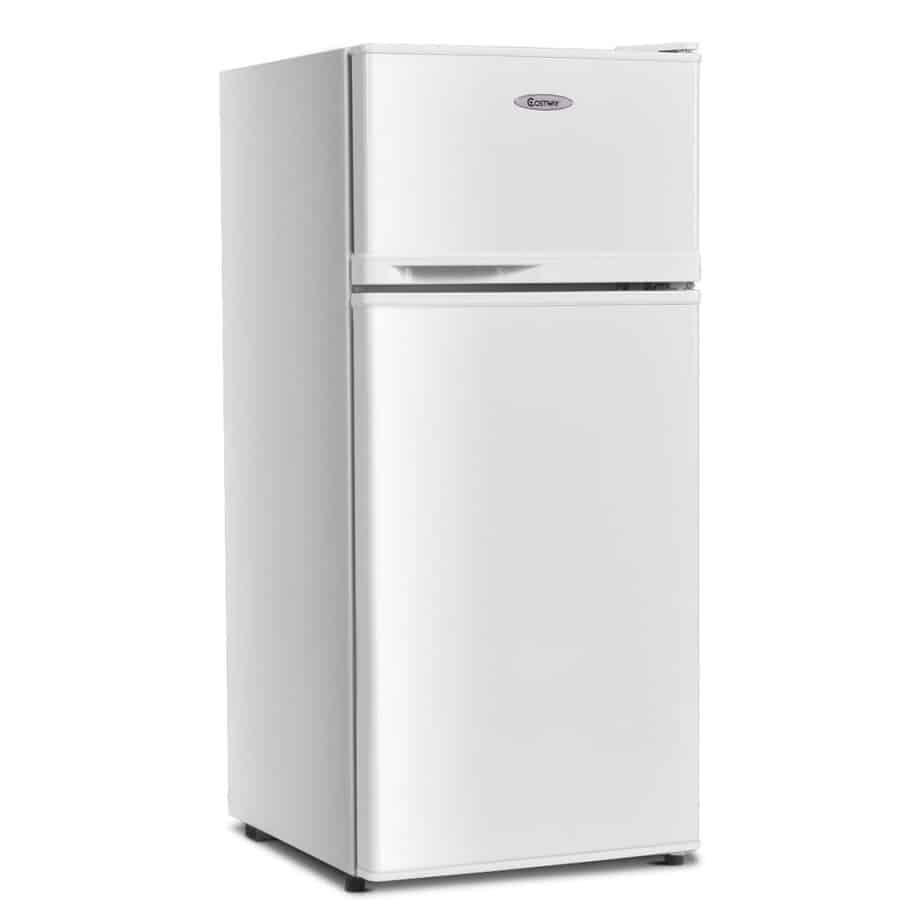 COSTWAY Compact Refrigerator, 2-Door 3.4 cu. ft. Under Counter Fridge, Freezer Cooler Unit for Dorm, Office, Apartment best refrigerator for smallkitchen