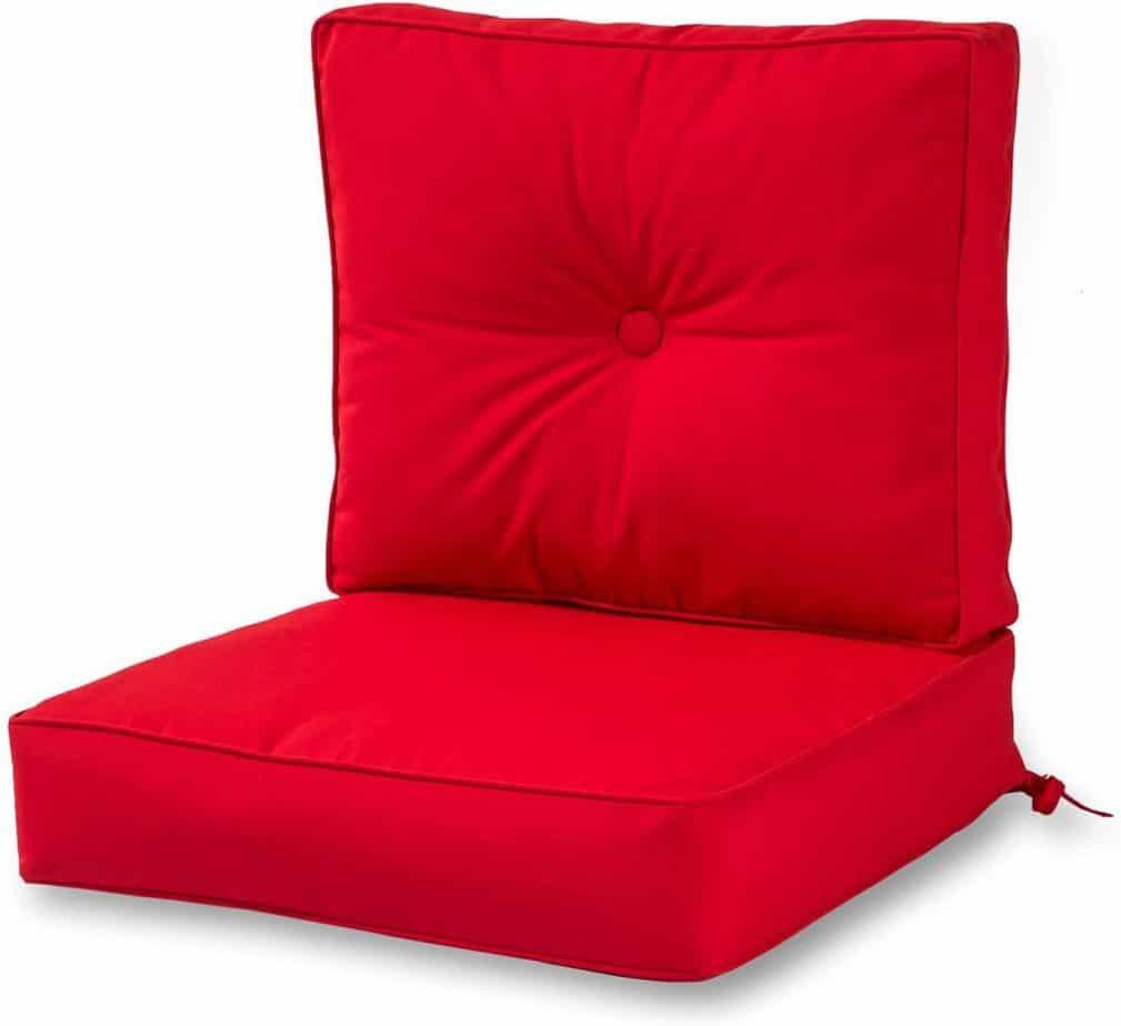 Greendale Home Fashions Outdoor Sunbrella Deep Seat Chair Cushion Set red best patio cushions